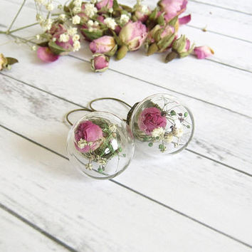 Glass ball Earrings, Rose Dangle Earrings, Real Flower Jewelry, Dried Flower Terrarium Earrings, Wedding Jewelry, Bridesmaid Gift