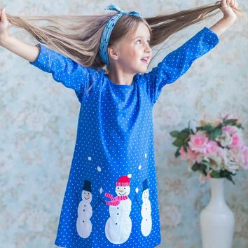 Unicorn Party Vestido Long Sleeve Girls Dresses 2018 Toddler Girl Dresses Casual Kids Clothes Animals Appliqued Kids Party Dress