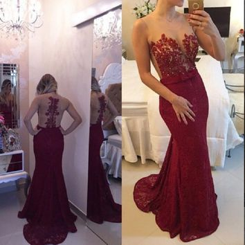 Burgundy Mermaid Bodice Lace Evening Prom Dresses 2017 O Neck Appliques Beading Floor Length robe de