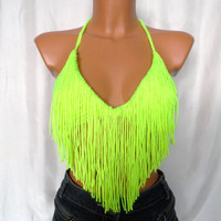 Summer Festival Top Fringes Neon Yellow Green Top Color Top Halter Tank Backless Music Top Retro Corset Bandeau Bustier Music Bikini Hippie