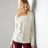 AEO Cable Beaded Sweater, Frozen Ivory   American Eagle Outfitters