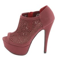 Laser Cut-Out Peep Toe Platform Booties by Charlotte Russe