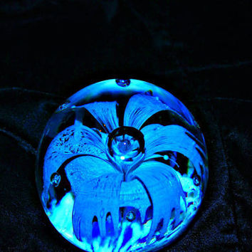 sale  Vintage Aqua art glass paperweight by capecodgypsy on Etsy