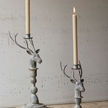 Set Of 2 Deer Taper Candle Holders
