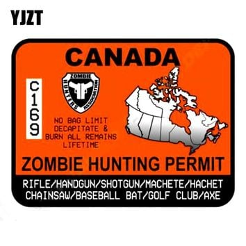 YJZT 13.1x9.7cm ZOMBIE Hunting Permit Canada Funny Motorcycle Car Sticker Retro-reflective Decals C1-8062
