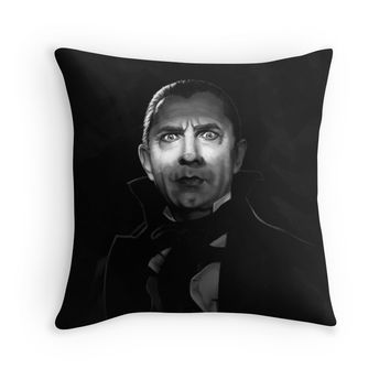 'Bela Lugosi dracula - black and white digital painting' Throw Pillow by Thubakabra