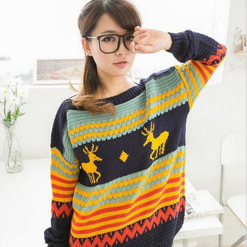 2016 Antumn Winter Women Sweater Knitted Christmas Sweater With Deer Slash Neck Casual Long Sleeve Women Sweaters And Pullovers