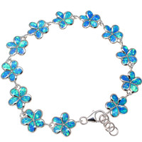 "925 STERLING SILVER INLAY OPAL 12MM HAWAIIAN PLUMERIA FLOWER BRACELET 7.5""+"