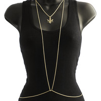 Goldtone Adjustable Rope Links Body Chain with Center Marijuana Charm