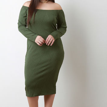 Texture Weave Bardot Bodycon Midi Dress
