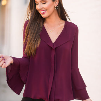 Run For Ruffles Blouse, Wine