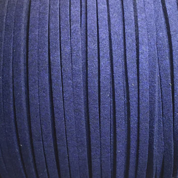 Navy Blue Faux Suede Cord - 3mm flat -  3, 5, 10 yards/meters - microfiber leather bracelet necklace jewelry making supply Dark Bleu