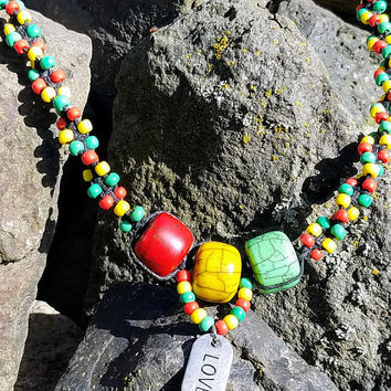 Rasta Hemp Love Charm Beaded Hemp Necklace