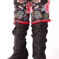 Embroidery cotton cloth boots