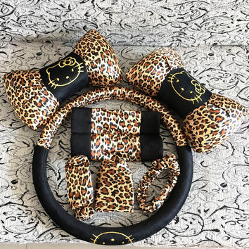8pcs Leopard Cartoon Universal Hello Kitty car seat covers car interior Accessories steering wheel cover Safety belt sets
