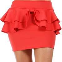 Coral Double Peplum Skirt