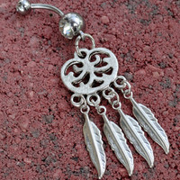 DreamCatcher Belly Button Ring Jewelry Feathers by MidnightsMojo