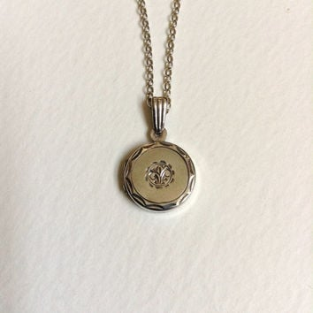 Vintage round locket necklace, fleur de lis pendant necklace, hallmarked Birmingham 1975