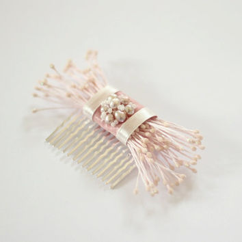 Bridal Hair Comb, Pink Hair Comb, Bridal Headpiece, Wedding Headpiece, Pink Hair Accessories, Bridesmaids Gift