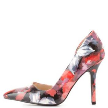 Pink Multi Floral Print D'Orsay Pumps by