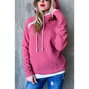 Double Hood Hoodie Cable Knit Sweater - Mauve
