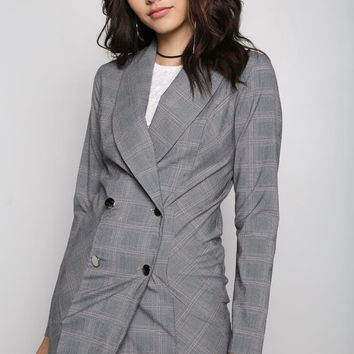 Charcoal Plaid Checkered Double Breasted Coat Dress