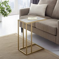 "20"" C-Table - White Faux Marble/ Gold"