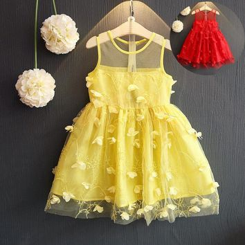 Mesh Cute Little Girls Dress Summer 2017 Small Beauty New Flower Princess Toddler Children Clothes Sleeveless Costume for Kids