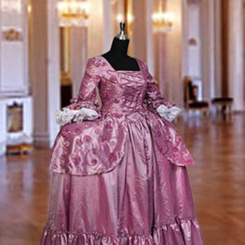 Renaissance Baroque Gown or Medieval Dress Gown in Taffeta Costume, Clothing  Multiple Colors Available