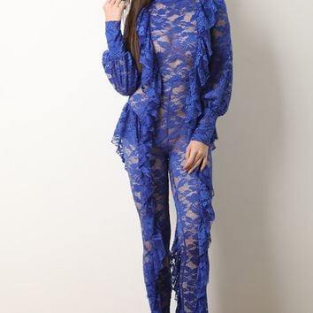 Floral Lace Ruffled Fitted Jumpsuit