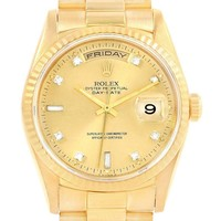 Rolex President Day-Date 18K Yellow Gold Diamond Dial Mens Watch 18238