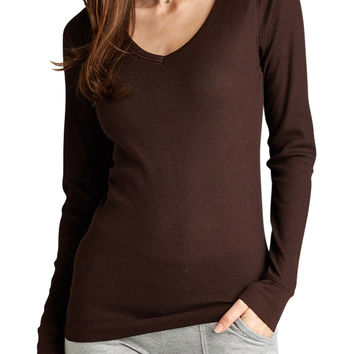 Women Long Sleeve V-Neck Thermal Basic Tee Shirt Top