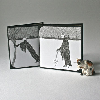 Two Blank Jotters featuring Drawings by Edward Gorey for Favors or Stocking Stuffers