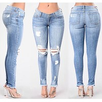 Rough Holes Regular Pencil Slim Long Jeans