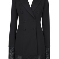 Honey Couture ROMI Black Long Sleeve Tassel Blazer Mini Dress