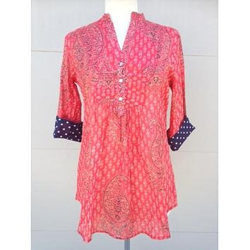 Cotton Tunic Top Red and Navy