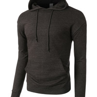 LE3NO PREMIUM Mens Lightweight Terry Cloth Pullover Sweatshirt Hoodie (CLEARANCE)