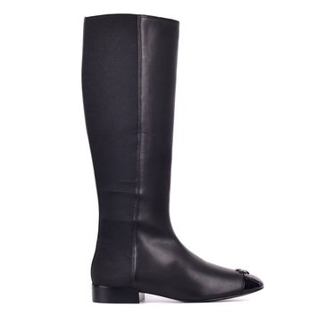 Tory Burch Women's Black Patent Leather Jolie Stretch Boots