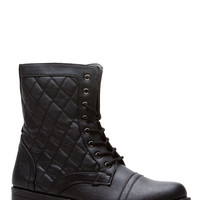 Black Faux Leather Quilted Lace Up Combat Boots