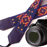 Dark purple Native American inspired Camera strap.  Southwestern Ethnic Camera strap.  DSLR Camera Strap. Camera accessories.