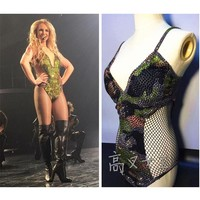 FREE SHIPPING Sexy Queen 2016 Summer New Arrival Britney Spears Army Day Camouflage Hollow Out Stick Drill Bodysuits Costume