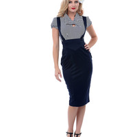 1940s Style Navy Charlie Pencil Jumper - Unique Vintage - Prom dresses, retro dresses, retro swimsuits.