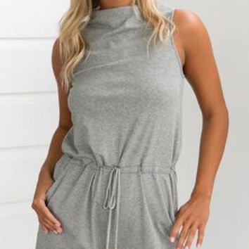FLICKER HEART PLAYSUIT (DARK GREY)