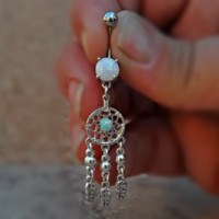 Dream Catcher Fire Opal Belly Ring  and Feather 14ga Surgical Stainless Steel Active Photos