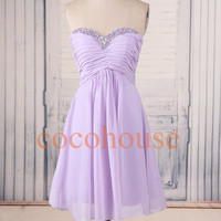 Lavender Beaded Short Prom Dresses Chiffon Bridesmaid Dresses Party Dresses Hot Homecoming Dresses Evening Dresses Wedding Party Dresses