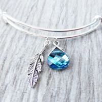 Feather Charm Adjustable Bangle Bracelet, Swarovski Ocean Blue Crystal Charm, Silver Jewelry, Bohemian Bracelet, Beach Jewelry, Summer