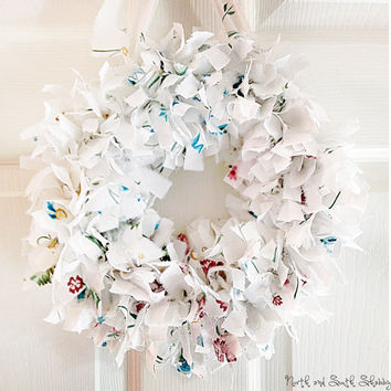 Shabby White Rag Wreath Wall Decor, Table Centerpiece, Home Decor