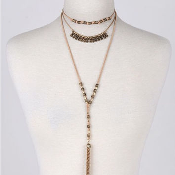 Earth Tone Layered Necklace