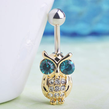 18K Gold Owl Belly Button Ring