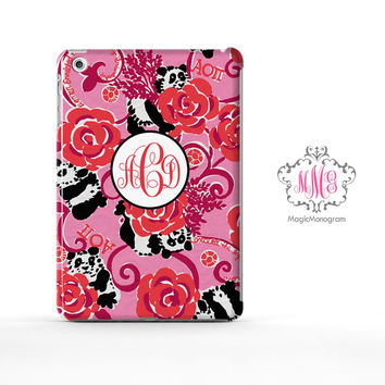Alpha Omicron Pi Panda Lilly Pulitzer Monogram iPad Air Case, iPad Mini Case